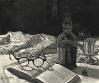 still life with wine bottle and prayer book by varda ginsburg