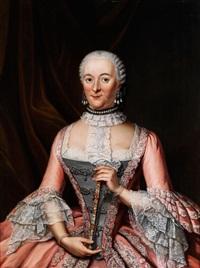 portrait einer höfisch gekleideten dame mit fächer by tiebout regters