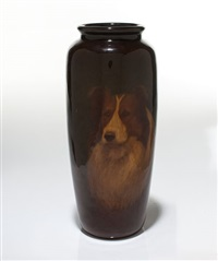 rookwood standard glaze vase with collie by edward timothy hurley