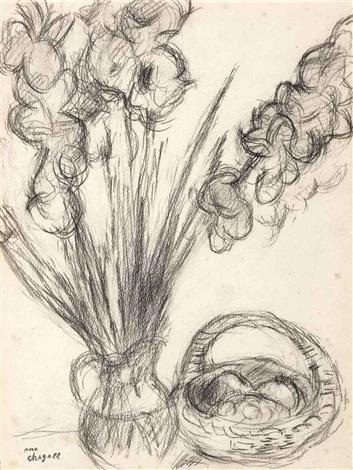 vase de fleurs et panier de fruits by marc chagall
