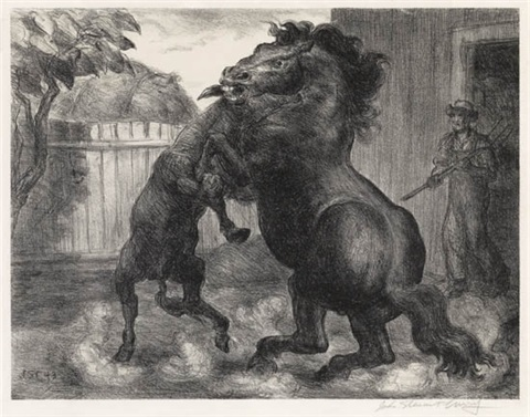 stallion and jack fighting by john steuart curry