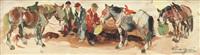 tre figure con tre cavallini by basso ragni