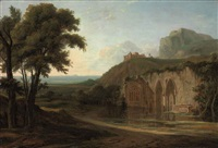 capriccio landscape with a ruined abbey, the coast beyond by hendrik frans de cort