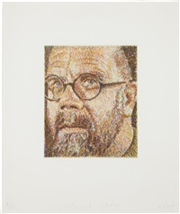 self-portrait/scribble/etching by chuck close