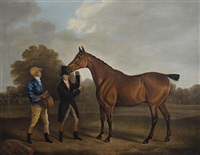 portrait of a race horse with jockey and trainer by benjamin marshall