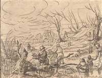 un paysage d'hiver avec patineurs et paysans ramassant du bois by zacharias blyhooft