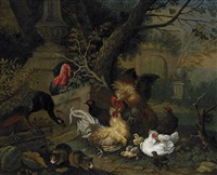 domestic fowl in garden setting by georg zacharias alkofer