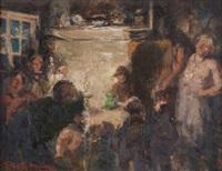 plusieurs figures attablées près de la cheminée by marten melsen