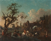 figures and horses on a village street by philips wouwerman