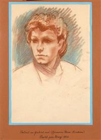 portrait au foulard noué (germain remi kieckens) by hergé