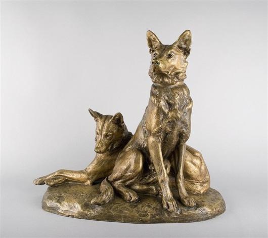 2 schäferhunde by louis riché
