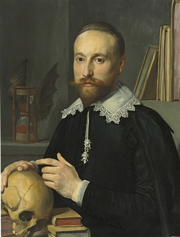portrait of a gentleman half length in a black coat and white lace collar with a skull by thomas de keyser