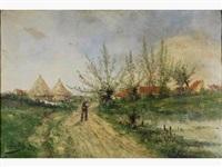 paysan sur le chemin vers le village by jean hill