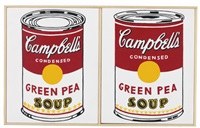 andy warhol, two cans of campbell's soup, green pea, 1961 & 1962 by richard pettibone