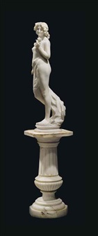 figure of a nude maiden, on pedestal by g. armando