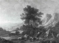 views of hilly landscapes with peasants by carl sebastian von bemmel