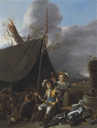 soldiers resting at camp by johannes lingelbach