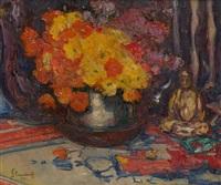 composition aux fleurs et au bouddha by hubert glansdorff