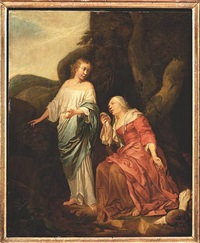 hagar comforted by the angel by hendrik heerschop