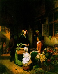 a fruitseller by an inn by willem rikkers
