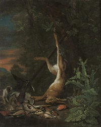 a dead hare and other game with a pointer and a rifle by jan weenix