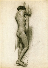 (academic female nude figure study) by ernest martin hennings