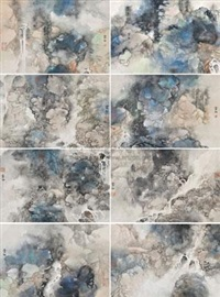 山水 (八幅) (8 works; various sizes) by li xubai