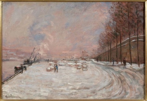 le quai saint bernard sous la neige by armand guillaumin