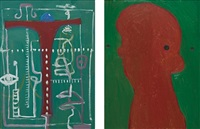 two works: (i) abstraction (ii) red face by george condo