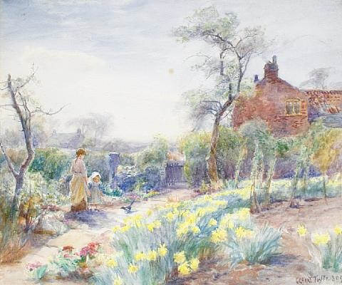 a cottage garden spring by william gilbert foster
