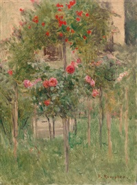 hollyhocks by a window by franz rumpler