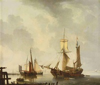 dutch moored vessels on a calm by dominique de bast