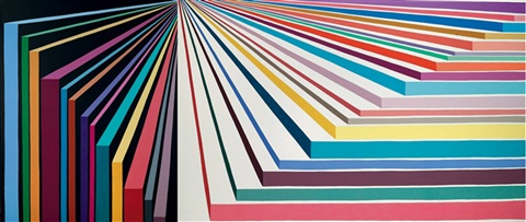 perspective stripes painting (+ another, irgr; 2 works) by peter davies