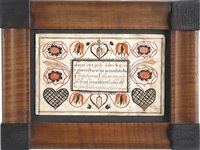 selection from a 13-page manuscript, bookplate with script surrounded by floral vines arising from hearts by phillip markel