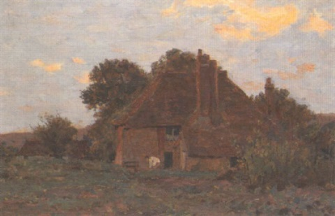 a cottage scene by james aumonier