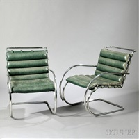 pair of mies van der rohe mr chairs by ludwig mies van der rohe
