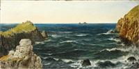 low water and bad weather, kingsale rock, plymouth, cornwall; uncertain weather at pol pre, lands end. the brisons in the distance (2) (unframed) by henry edward spernon tozer