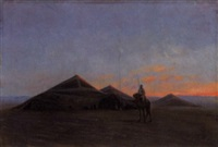 campement au soleil couchant by eugene h. frey
