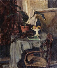 a still life with a violin, a bottle, fruits and a book on a table by johan buning