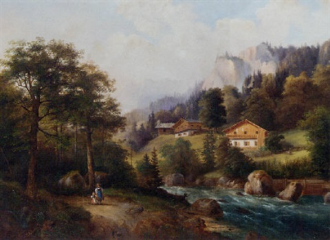 figures in an alpine landscape by julius abbiati
