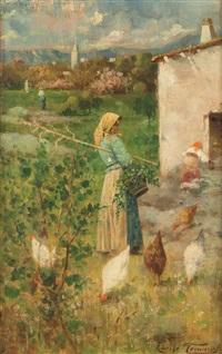 paesaggio con contadinella e galline by adolfo tommasi