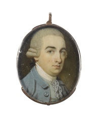 a gentleman, wearing pale blue coat, duck-egg blue waistcoat, white stock and lace cravat, his powdered wig worn en queue by ozias humphry