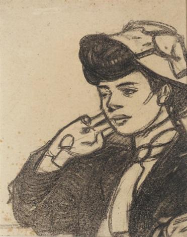 tête de jeune femme au chapeau vue de profil vers la gauche by maxime dethomas