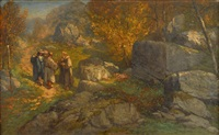 monks and a traveler on a track in a landscape by gustave courbet