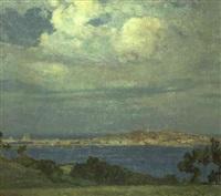 vista del puerto y de la ciudad de la coruña by francisco llorens y diaz