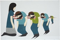 untitled (lady with spike thru 4 men) by clare rojas