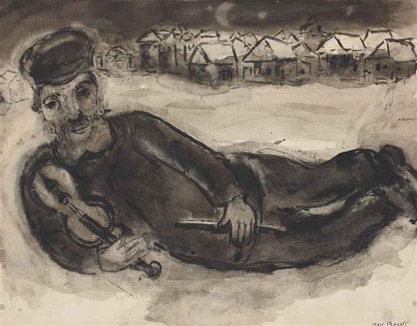 vieux paysan ou violoniste et le village by marc chagall