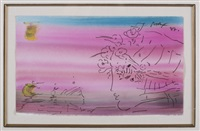yellow zenboat and pink profile by peter max
