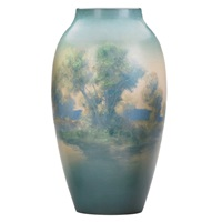 tall scenic vase by e.t. hurley