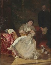in ihrem boudoir sitzende, laute spielende, junge dame by u.m. samaran